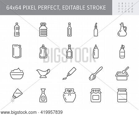 Sauces Line Icons. Vector Illustration Include Icon - Jug, Cup, Vinegar, Mayonnaise, Ketchup, Sour C