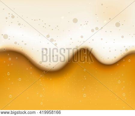Bubbled Beer Texture. Beers Bar Foam Macro Background Vector Image, Fizzy Bubbles Beverage Orange Ba