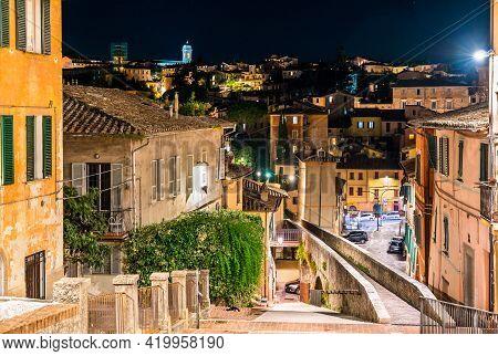 Medieval Aqueduct In Perugia At Night - Umbria, Italy