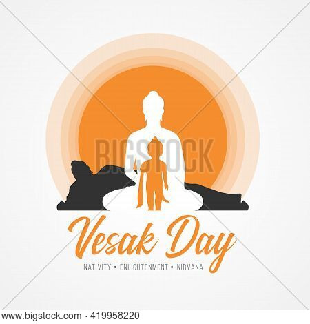 Vesak Day Banner With Three Events Of Buddha Are Nativity, Enlightenment And Nirvana In Orang Circle