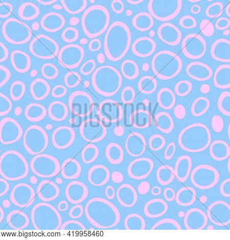 Spotty Abstract Vector Seamless Pattern. Random Rings, Dots, Circles, Spots, Stains, Bubbles, Stones