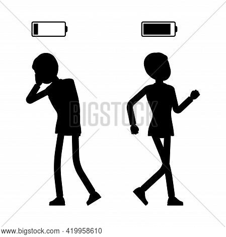 Male Black Silhouette, Businessman Or Office Worker Empty, Full, Battery. Administrative Manager Per