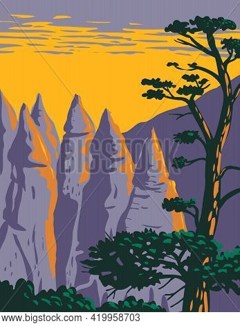 Wpa Poster Art Of The Cone Shaped Formations Of Kasha-katuwe Tent Rocks National Monument Located In