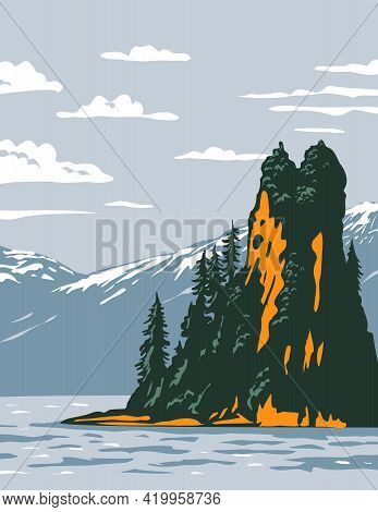 Wpa Poster Art Of The New Eddystone Rock Located In Misty Fjords National Monument Part Of The Tonga