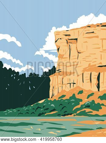 Wpa Poster Art Of Pompeys Pillar National Monument A Sandstone Pillar And Rock Formation Located In