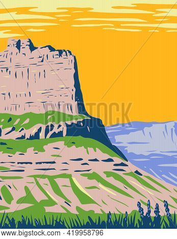 Wpa Poster Art Of The Scotts Bluff National Monument Located Near The City Of Gering In Nebraska Alo