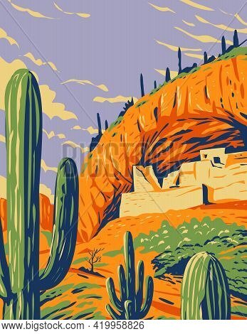 Wpa Poster Art Of  Salado-style Cliff Dwelling And Saguaro Cactus In Tonto National Monument In The