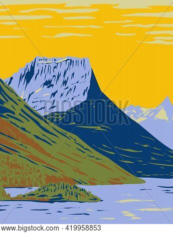 Wpa Poster Art Of The Waterton-glacier International Peace Park, The Union Of Waterton Lakes Nationa
