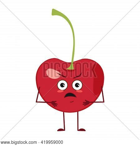 Cute Cherry Character With Angry Emotions, Face, Arms And Legs. The Funny Or Grumpy Food Hero, Berry