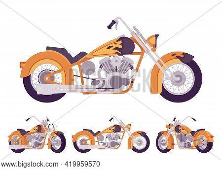 Chopper Custom Fire Decor Classic Motorcycle, Bobber Bike. Fast Motorsport, High Speed Sport Vehicle