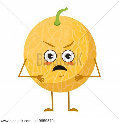 Cute Melon Character With Angry Emotions, Face, Arms And Legs. The Funny Or Grumpy Food Hero, Fruit.