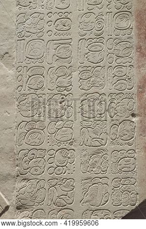 Bas-relief Carving With Mayan Inscription, Mayan Alphabet.