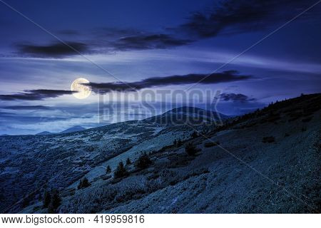 Hills Of The Petros Mountain In Summer At Night. Wonderful Nature Scenery Of Carpathians In Full Moo