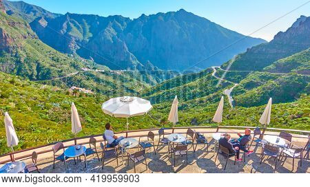 Masca, Tenerife, Spain - December 10, 2019: Cafe with scenic panoramic view near Masca village in Tenerife Island, The Canaries