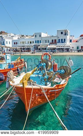 Mykonos, Greece - April 22, 2018:  Fishing boats in the Old Port of Mykonos