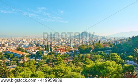 Athens, Greece - October 20, 2017: Panoramic view of Athens city. Cityscape