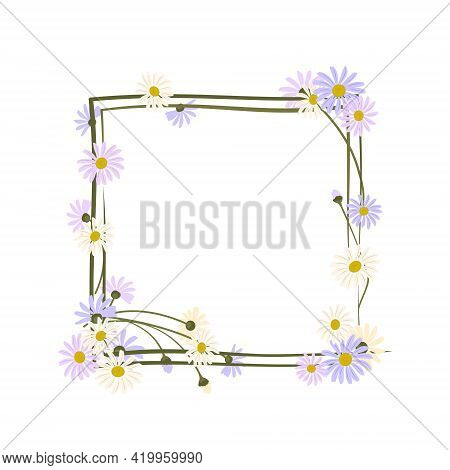 Daisy Wreath. Square Frame, Cute Purple And White Flowers Chamomile With Yellow Hearts. Holiday Deco