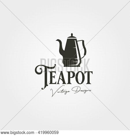 Teapot Vintage Logo Label Vector Illustration Design, Stainless Steel Teapot Logo Design