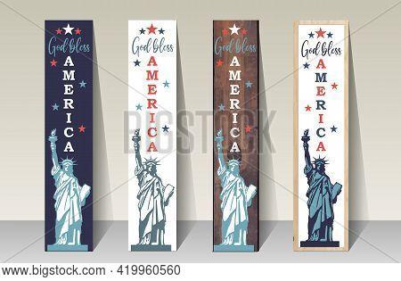 God Bless America - Porch Sign Vertical Vector Design Template