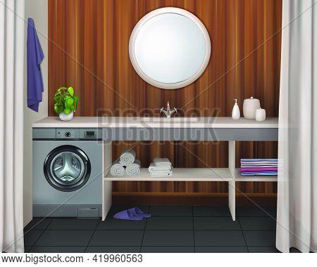 Bathroom Interior With Washing Machine, Washbasin, Mirror And Storage Shelves. Vector 3d Realistic I