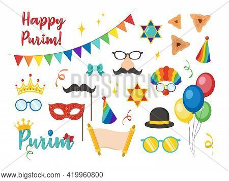 Happy Purim Carnival Set Funny Costume Elements, Icons For The Party. Colored Isolated Photo Booth P