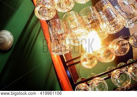 Belgrade, Serbia - August 28, 2024: Beer Mugs And Glasses With The Logos Of Jelen Pivo And Niksicko