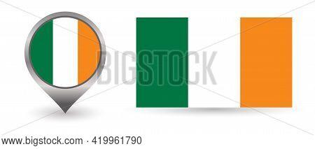 Vector Flag Ireland. Location Point With Flag Ireland Inside.