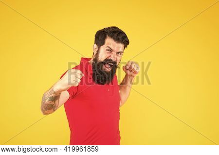 Got Himself A Real Winner Happy Winner Celebrate Yellow Background. Happy Hipster Make Winner Gestur