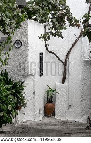 Pampaneria, Granada - September 01, 2020: Street Of The Village Of Pampaneira With Its Typical White