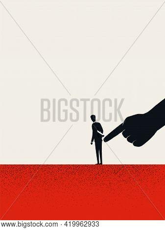 Business Management And Control, Vector Concept. Symbol Of Manipulation. Minimal Illustration.