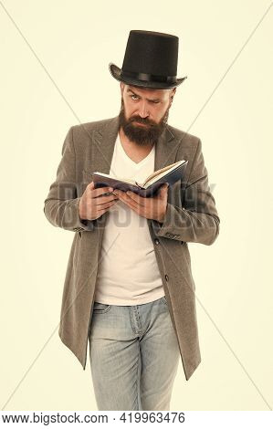 Artistic Person. Talented Artist. Bearded Man Read Book Isolated On White. Poetry Reading. Inspirati