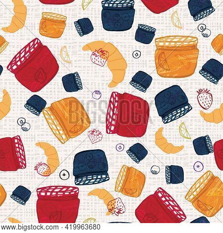Fruit Preserve Background Seamless Vector Pattern. Hand-drawn Breakfast Jams And Food Illustration D