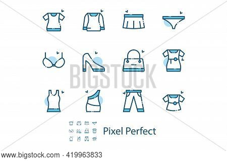 Womens Clothing Shoes And Accessories Set Vector Illustration. Collection Of Underwear, Shoes, Dress