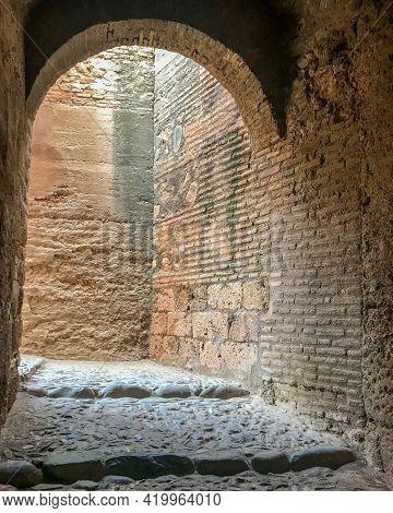 Rock Passage Inside The Castle With Sunlight Entrance