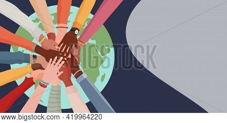 People Diversity. Arms And Hands On Top Of Each Other On The Globe. People Of Diverse Race Culture E