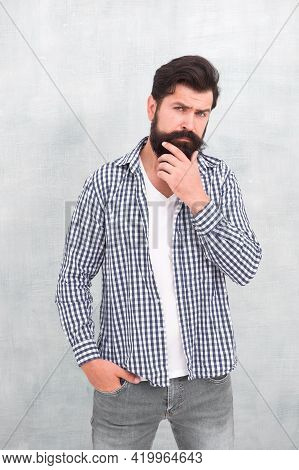 Denim Look. Male Casual Fashion Style. Barber Care For Real Men. Brutal Hipster With Mustache. Matur