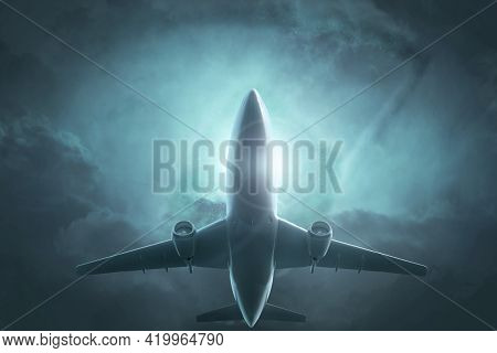 The Concept Of Dengerous Flights. The Plane Flies Against A Gloomy Background. 3d Illustration.