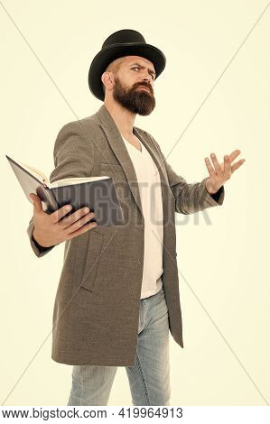 Inspired Bearded Man Read Book. Poetry Reading. Book Presentation. Literature Teacher. Books Shop. G