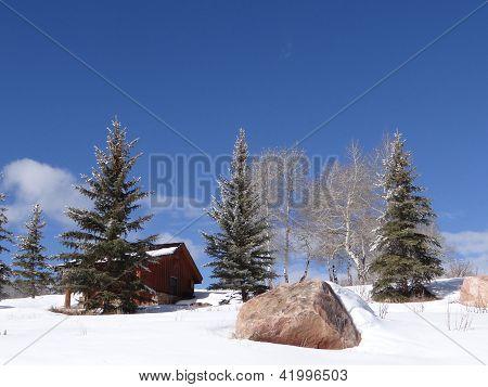 Snow Bound Cabin In Winter Landscape