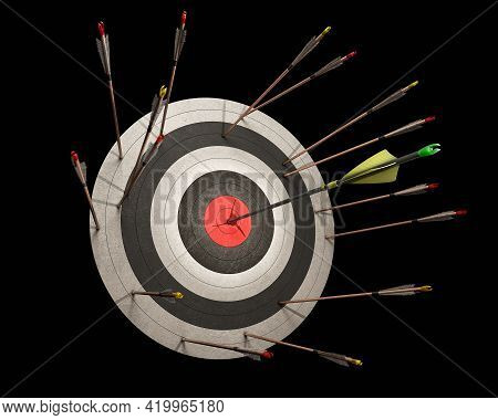 Archery Concept On A Black Background, Miss Hit Of Many Wooden Arrows And The Only One Carbon Arrow