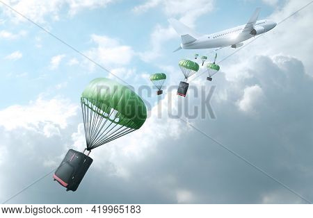 Delivery Concept. Airplane Drops Suitcases And Bags On Background Of Clouds. 3d Illustration.