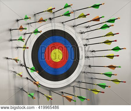 A Lot Of Arrows Missed The Target And Hits The Wall Around It, No Arrow Hits The Target, Concept, 3d