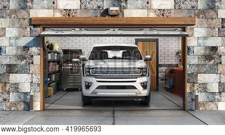 3d Render Of Garage Interior With Open Door And Car In Front 3d Illustration