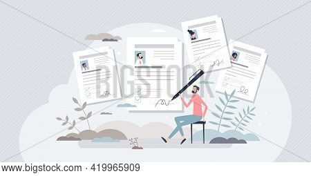 Job Application Or Employment Resume Research For Free Vacancy Tiny Person Concept. Work Candidate D