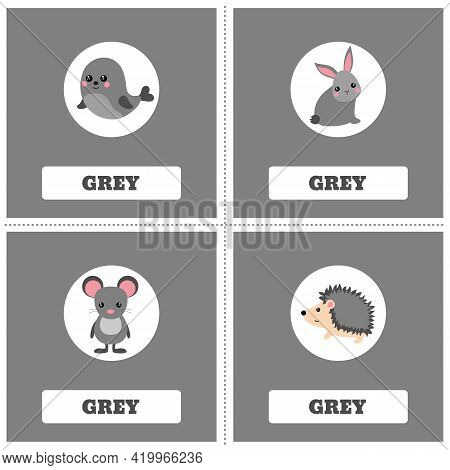Cards For Learning Colors. Grey Color. Education Set. Illustration Of Primary Colors.