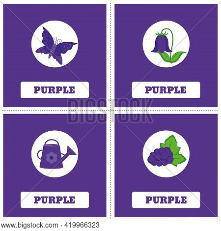 Cards For Learning Colors. Purple Color. Education Set. Illustration Of Primary Colors.