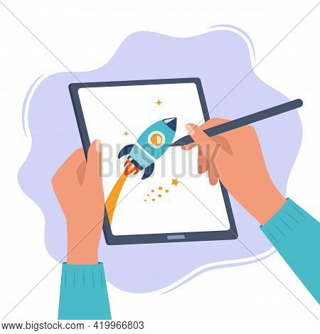 Designer Illustrator Draws A Cute Illustration On Graphic Tablet With Pen. Hands Holding Tablet And