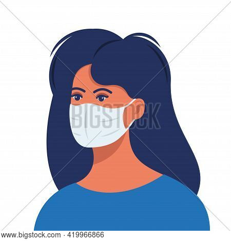 Woman With Protective Medical Mask On Face For Prevent Virus. Girl In Surgical Mask. Covid Preventio