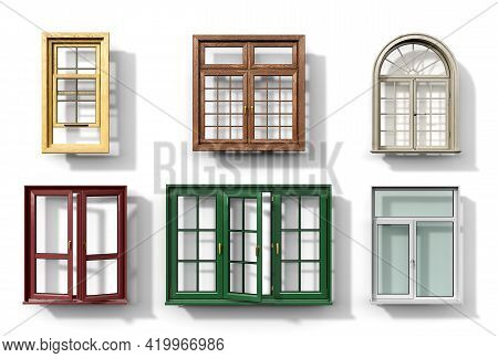 Set Of Different Windows Isolated On A White Background, 3d Illustration