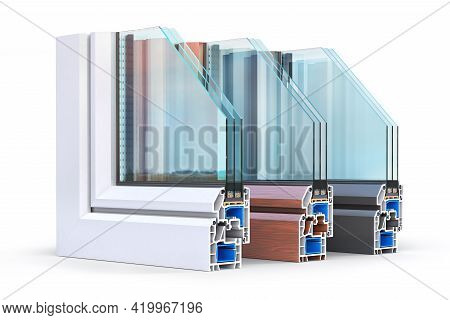 Slice Of Energy Efficient Windows. See Structure In Cutaway. 3d Illustration